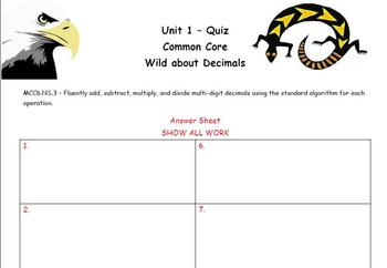 Common Core - Wild About Decimals Quiz