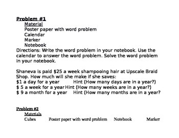 Common Core Word Problems