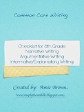 Common Core Writing Checklists 8th Grade Narrative, Exposi