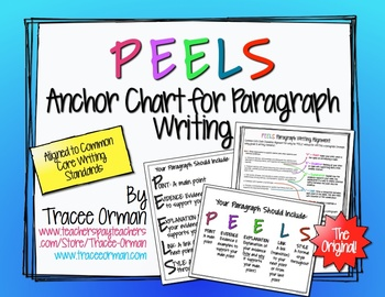 "Free Download Writing Paragraphs Common Core ""PEELS"" Anchor Chart"