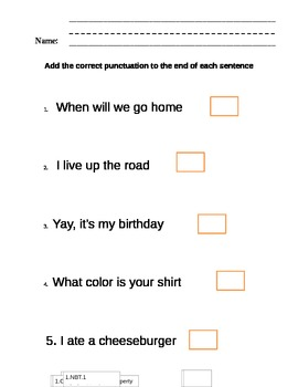 Common Core ending punctuation worksheets 4 days