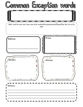 Common Exception words Worksheet