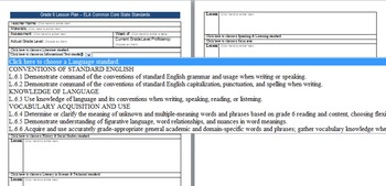Common Core Lesson Plan ELA Grade 6 w/Standards in Drop Do