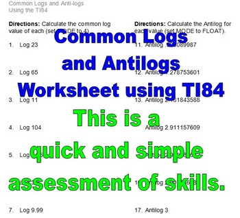 Common Logs (Logarithms) and Antilogs Worksheet