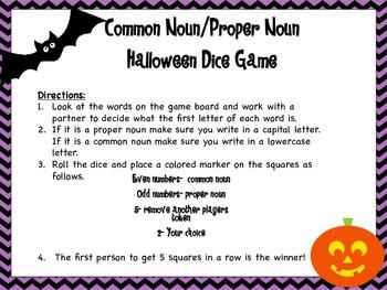Common Noun/Proper Noun Halloween Dice Game
