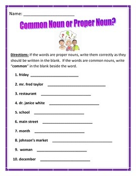 Common Nouns or Proper Nouns?  Common Core