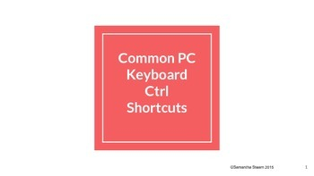Common PC Keyboard Ctrl Shortcuts