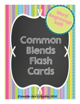 Common Word Blends / Word Beginning Flash Cards