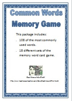 Common Words Memory Game