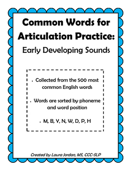 Common Words for Articulation Practice: Early Developing Sounds