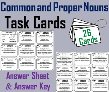 Common and Proper Nouns Task Cards/ Grammar Task Cards