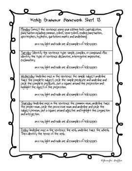 Common Core: Language Arts: Third Six Weeks of Grammar Homework