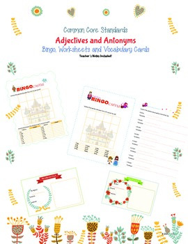 CommonCore Adjectives and Antonyms Bingo and Worksheets