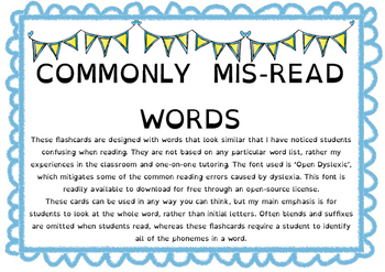 Commonly mis-read words