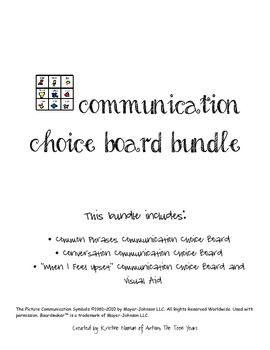 Communication Choice Board for ABA, Autism, or Special Edu
