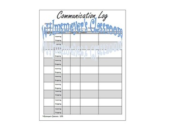 Communication Log - Parent Teacher Communication Log