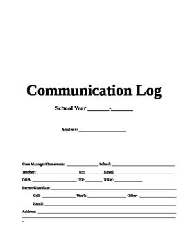 Communication Log Template Digital Copy