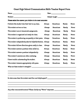 Communication Skills Form Fillable .pdf