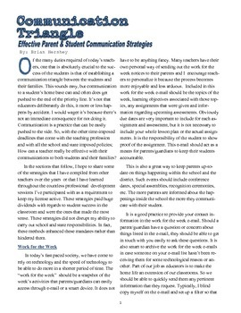 Communication Triangle: Effective Parent and Student Commu