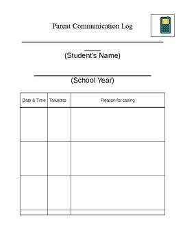 Communication log for Parents