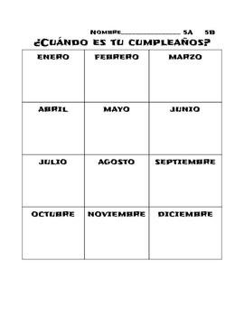 Communicative Birthday Activity- Spanish ¿Cuándo es tu cum