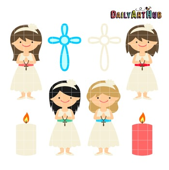 Communion Girls Clip Art - Great for Art Class Projects!