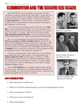 Communism and the Second Red Scare Reading & Worksheet