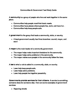Communities and Government Study Guide & Test for 2nd or 3