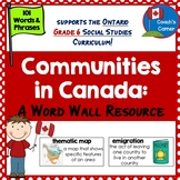Communities in Canada Word Wall