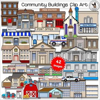 Community Buildings Clip Art. City, Neighborhood and Home