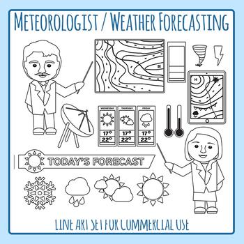 Community Helper Meteorologist / Weather Reporter Line Art