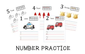 Community Helper Number Practice {Numbers 1-5 Writing & Co