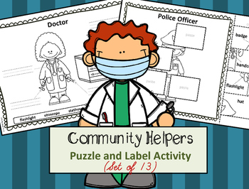 Community Helper Tools - Puzzle Parts and Labeling Activit