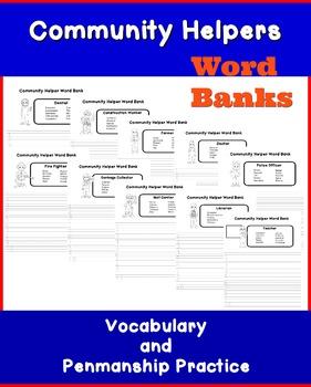 Community Helper Word Bank Vocabulary Builder- NO PREP