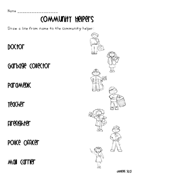 community helpers activity sheets by creative classroom lessons teachers pay teachers. Black Bedroom Furniture Sets. Home Design Ideas