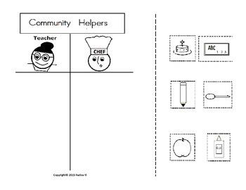 Community Helpers Chef and Teacher Sort Graphic Organizer