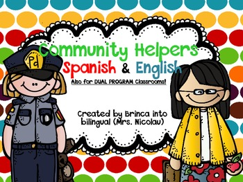 FREE Community Helpers Matching Game Spanish, English, and