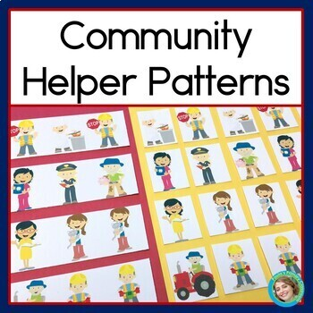 Community Helpers Patterns Math Center with AB, ABC & ABB