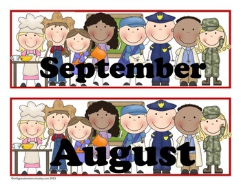 Community Helpers Pocket Chart Calender Cards (July, Augus