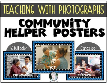 16 Community Helpers {REAL PHOTOS} Poster and Card Bundle Set