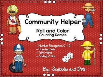 Community Helpers ~ Roll and Color Games