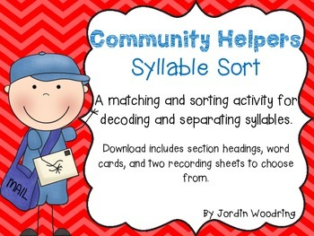 Community Helpers Syllable Sort and Vocabulary Cards