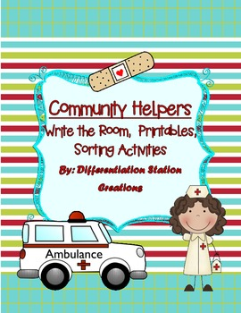 """Community Helpers """"Write the Room"""", Noun and Syllable Sort"""
