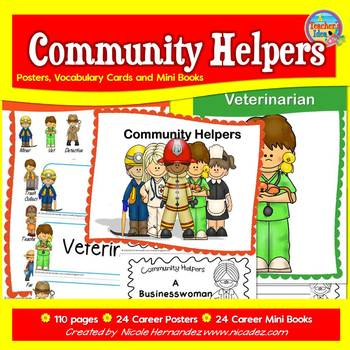 Community Helpers - {Classroom Posters and Student Mini Books}