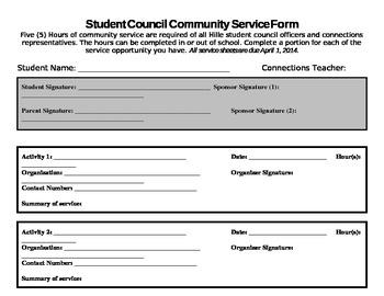 Community Service Form- Editable