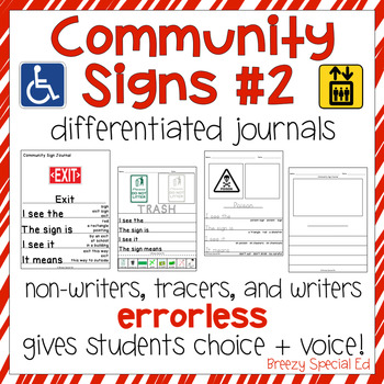 Community Signs 2 - Leveled Journal Writing for Special Education