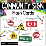 Community Signs Flashcards with Words