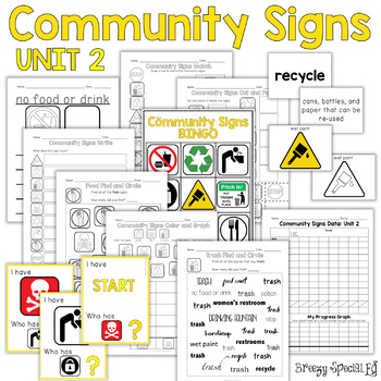 Community Signs Games and Worksheets - Unit 2 - for Specia