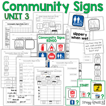 Community Signs Games and Worksheets - Unit 3 - for Specia