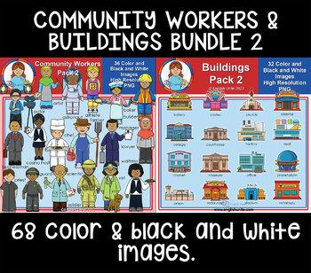 Clip Art - Community buildings and workers bundle 2